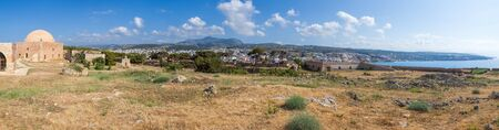 fortezza: Panoramic view of the Fortezza citadel, Rethymno, Crete, Greece, with Mosque of Sultan Ibrahim on  left and St. Lucas Bastion on right Editorial