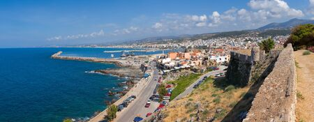fortezza: Panoramic view of Rethymno city from the Fortezza citadel, Crete, Greece