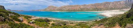 aegean sea: Panoramic view of Balos Lagoon and beach from the Cape Tigani, Crete, Greece
