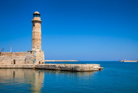 rethymno: Egyptian lighthouse at Venetian port in Rethymno old town Crete Greece Mediterranean