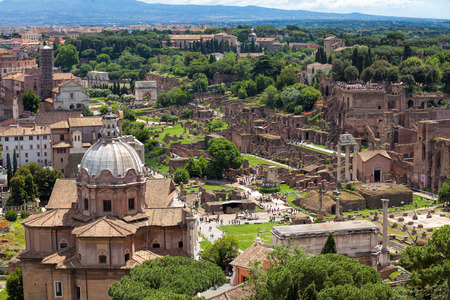 roman: Old ruins of the Roman Forum (Foro Romano) at the center of the city of Rome, Italy