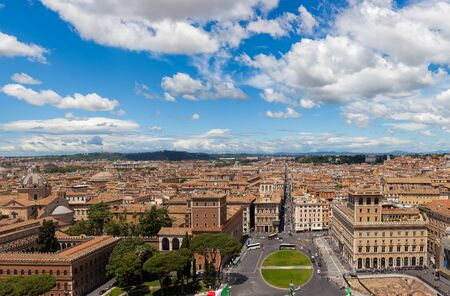 Aerial panoramic view of central Rome from the Vittoriano Monument with Piazza Venezia and Palazzo Venezia in foreground Editorial