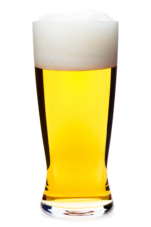 ipa: Full glass of pale lager beer with a large head of foam isolated on white background