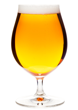 pilsener: Full snifter glass of pale lager of pilsner beer isolated on white background