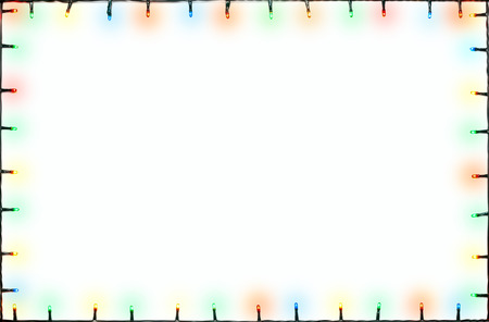 Christmas lights of different colors frame on white background Stock Photo