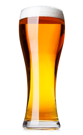 Full glass of pale lager beer with a head of foam isolated on white background