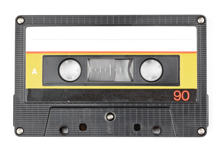 mc: Vintage 90 minutes black compact cassette on white background