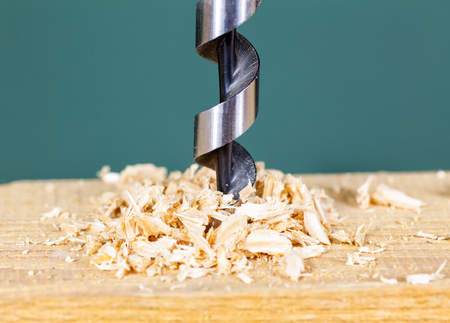 wood shavings: Wood drill bit with shavings