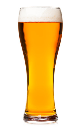 pilsener: Full pilsner glass of pale lager beer with a head of foam isolated on white background Stock Photo