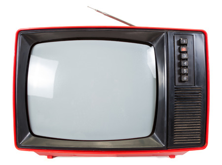 telly: Old red television set made in USSR isolated on white background