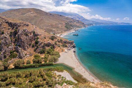 Aerial view of Preveli palm beach and lagoon near Rethymno in Crete,  Greece, Mediterranean