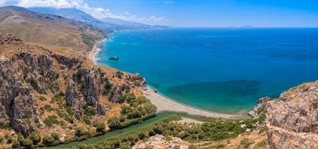Aerial panoramic view of Preveli palm beach and lagoon near Rethymno in Crete,  Greece, Mediterranean