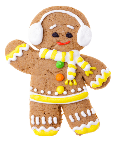 iced christmas gingerbread man sugar cookie isolated on white background stock photo 85661718 - Christmas Gingerbread Man