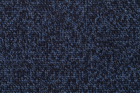 Blue knitted fabric made of heathered yarn textured background Stock Photo