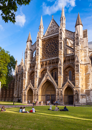 LONDON, UK - JUNE 16, 2013: Visitors at North Entrance of Westminster Abbey, City of Westminster, Central Area of Greater London