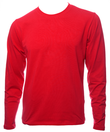 Red plain long sleeved cotton T-Shirt template isolated on a white background