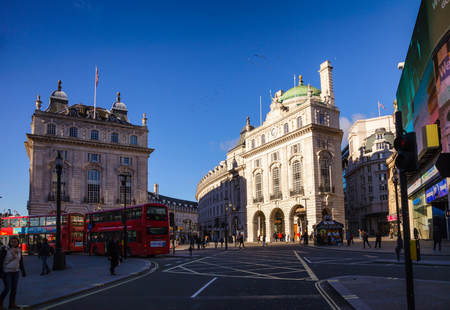 LONDON, UK - NOVEMBER 03, 2012: City traffic at Regent Street and Piccadilly Circus junction West End W1