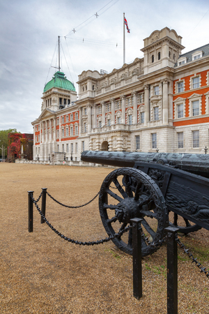 A military trophy —Turkish cannon captured in Egypt in 1801 at Horse Guards Parade with Old Admiralty Building in background, Whitehall, Central London, UK