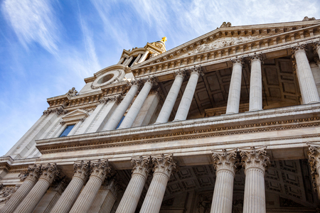 St Pauls Cathedral West Front Portico with Corinthian columns London UK