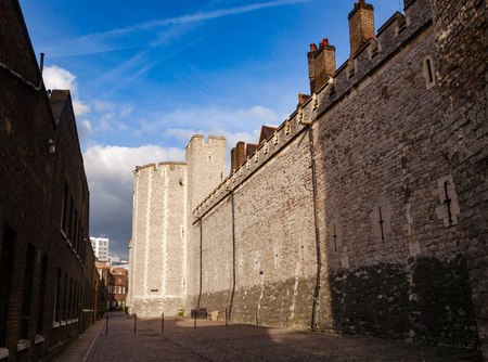 The Mint Street of Tower of London, a historic castle and popular tourist attraction on the north bank of the River Thames in central London England UK Reklamní fotografie