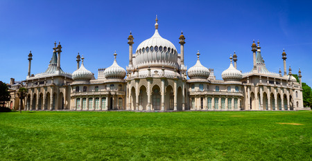 Panoramic view of the Royal Pavilion (Brighton Pavilion), former royal residence built in the Indo-Saracenic style in Brighton, East Sussex, Southern England, UK