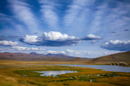 Unforested mountain valley in Western Mongolia Altay Mountains at summer