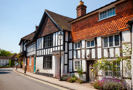STEYNING, UK - JUN 6, 2013: Old town street with Tudor style timber frame houses