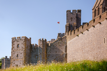 Restored and remodelled medieval motte-and-bailey castle in Arundel, West Sussex, South East England, UK. A popular tourist attraction. Editorial