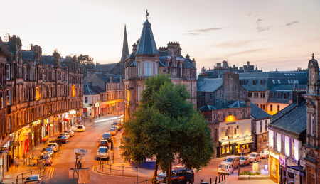 STIRLING, UK - AUG 11, 2012: Barnton Street intersection with Maxwell Place at dusk