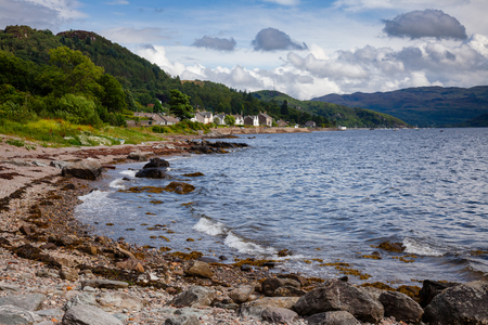 Tighnabruaich village on the Kyles of Bute narrow sea channel,  Cowal peninsula, Argyll and Bute, Scotland, UK