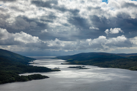 Dramatic sky over the Loch Ruel or Loch Riddon lake on the Cowal peninsula at Argyll and Bute, Scotland, UK Stock Photo