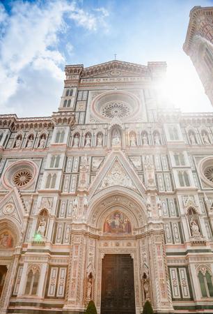 Ornate neo-gothic facade of the Cattedrale di Santa Maria del Fiore or Florence Cathedral (Il Duomo di Firenze), in Tuscany Italy Stock Photo