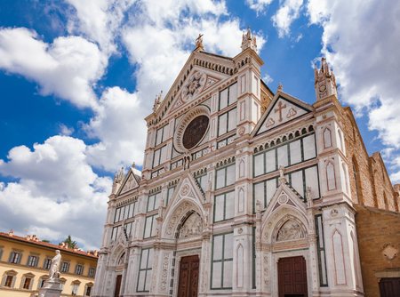 Ornate facade of the Basilica di Santa Croce (Basilica of the Holy Cross), also as the Temple of the Italian Glories, the largest Franciscan church in the world, Florence, Tuscany, Italy
