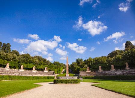 Boboli Gardens park primary axis amphitheater with  Ancient Egyptian obelisk Florence, Tuscany, Italy 版權商用圖片