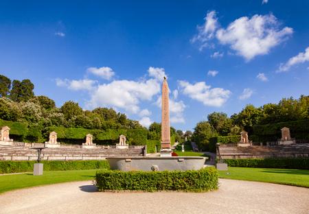 Boboli Gardens park primary axis amphitheater with  Ancient Egyptian obelisk Florence, Tuscany, Italy Stock Photo