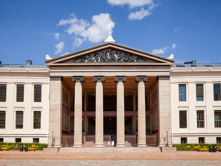 University of Oslo Faculty of Law (Domus Media) neoclassical facade, University Square, Central Oslo, Norway, Scandanavia Editorial