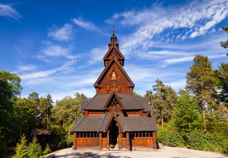 Reconstructed wooden Gol Stave Church (Gol Stavkyrkje) in Norwegian Museum of Cultural History at Bygdoy peninsula in Oslo, Norway, Scandanavia Banco de Imagens - 107819279