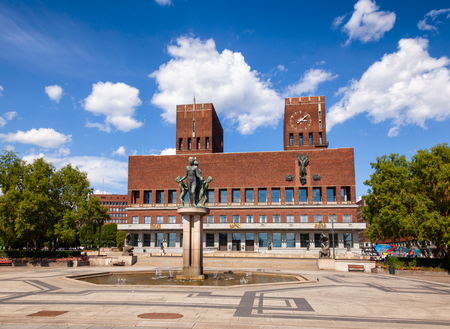 The Oslo City Hall (Radhus), a municipal building and major landmark in Central Oslo, Norway, Scandinavia, known as a venue for the Nobel Peace Prize ceremony Stock Photo