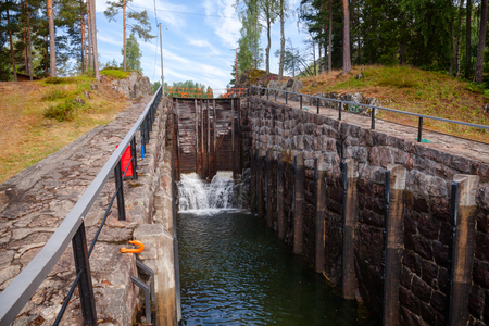 Eidsfoss lock on the Telemark Canal that connects Skien to Dalen in Telemark County, Norway