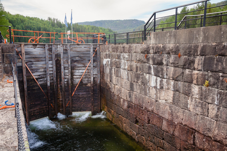 Hogga lock on the Telemark Canal that connects Skien to Dalen in Telemark County, Norway 版權商用圖片