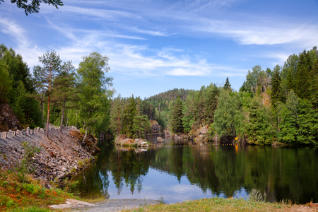 Lower canal, an entrance route to the Vrangfoss lock at Telemark Canal, Telemark County, Norway Standard-Bild