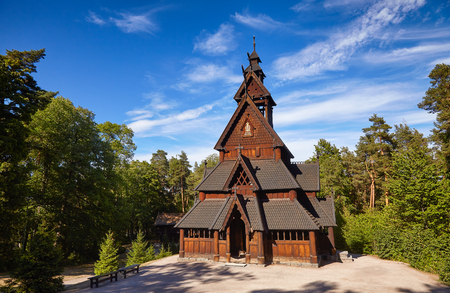 Reconstructed wooden Gol Stave Church (Gol Stavkyrkje) in Norwegian Museum of Cultural History at Bygdoy peninsula in Oslo, Norway, Scandanavia