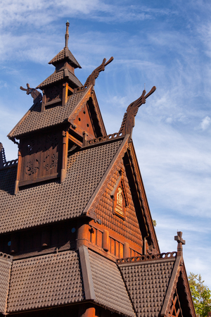 Detail of reconstructed wooden Gol Stave Church (Gol Stavkyrkje) in Norwegian Museum of Cultural History at Bygdoy peninsula in Oslo, Norway, Scandanavia Standard-Bild - 113620077