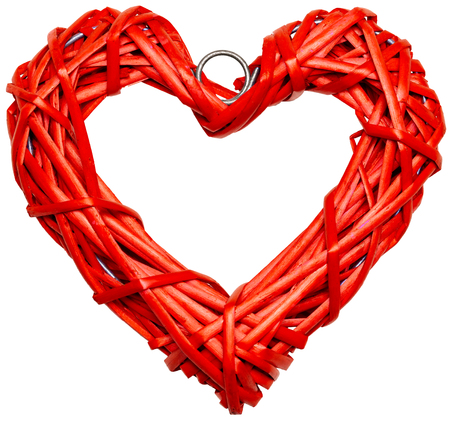 Red heart shaped braided wicker isolated on white background Standard-Bild - 113610757