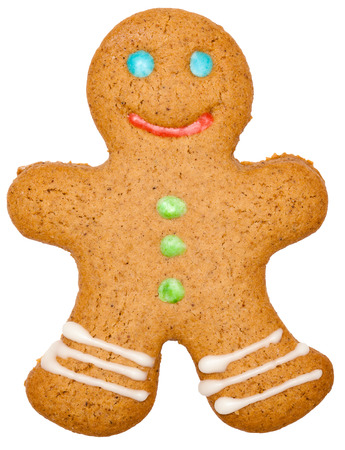 Iced Christmas Gingerbread man sugar cookie isolated on white background Standard-Bild - 113610760