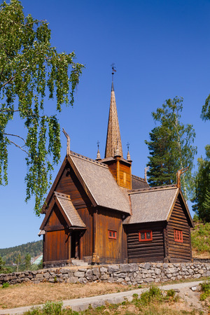 Reconstructed wooden Garmo Stave Church (Garmo Stavkyrkje) in Maihaugen Folks museum, Lillehammer, Oppland, Norway, one of the most visited stave churches in Norway Banco de Imagens