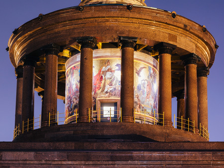 Illuminated Berlin Victory Column (Siegessaule) monument hall of pillars with glass mosaic at night, Tiergarten, Berlin, Germany Stock Photo