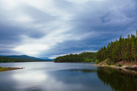 Norwegian summer landscape with Olstappen lale, Oppland County, Norway Stock Photo