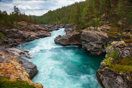 Rapids on the Sjoa river in Oppland County of Eastern Norway, Scandinavia, popular for rafting, kayaking, riverboarding and other activities