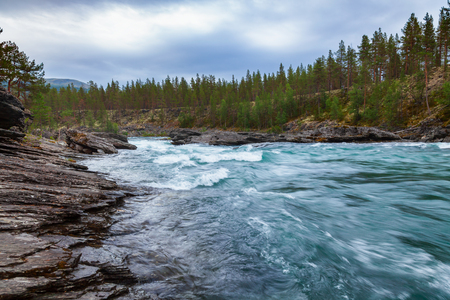 Rapids on the Sjoa river in Oppland County of Eastern Norway, Scandinavia, popular for rafting, kayaking, riverboarding and other activities Stock Photo